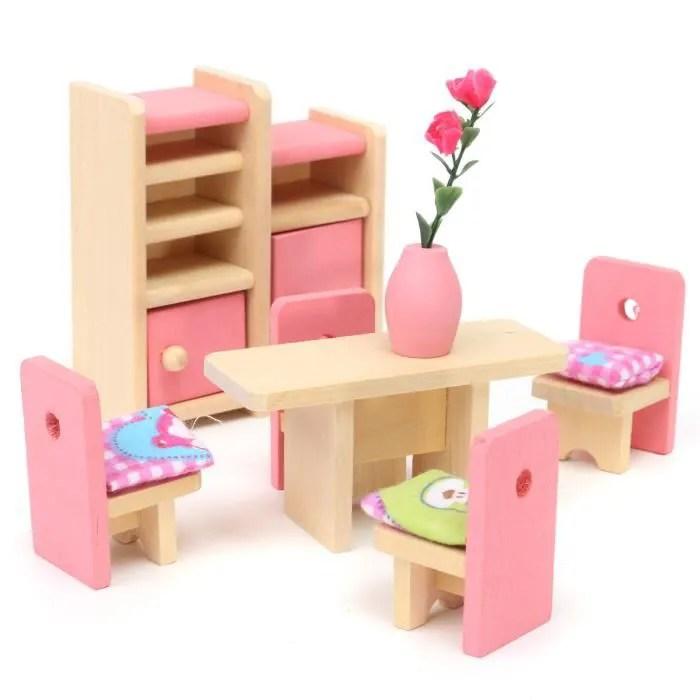 meuble poupee mobilier maison diette bois jouet enfant barbie restaurant
