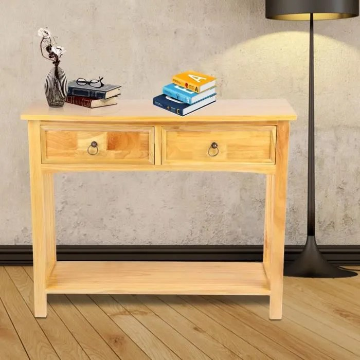 console table bureau 2 tiroirs en pin