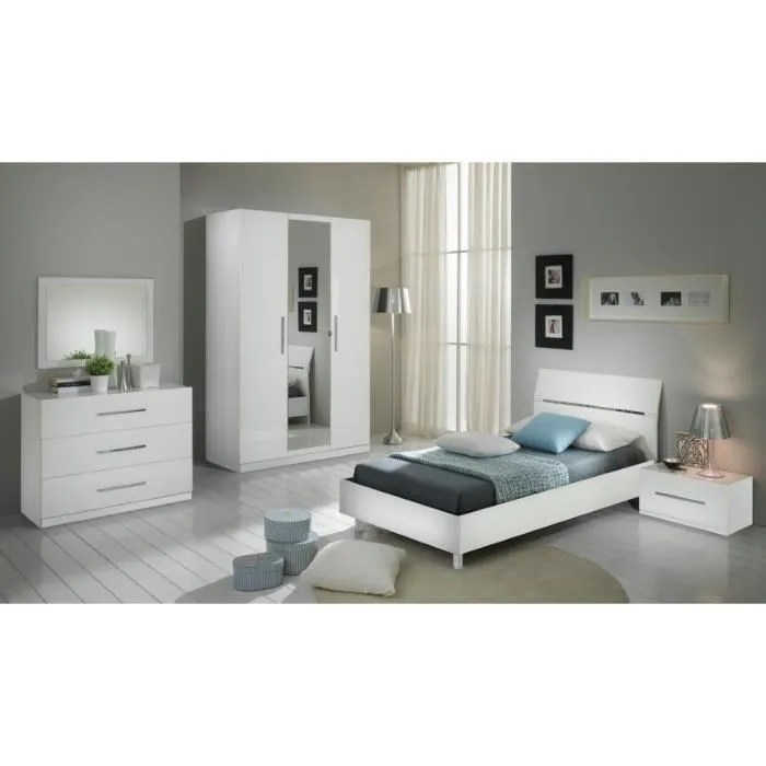chambre a coucher modele gloria blanche laquee armoire 3p et lit 90 190
