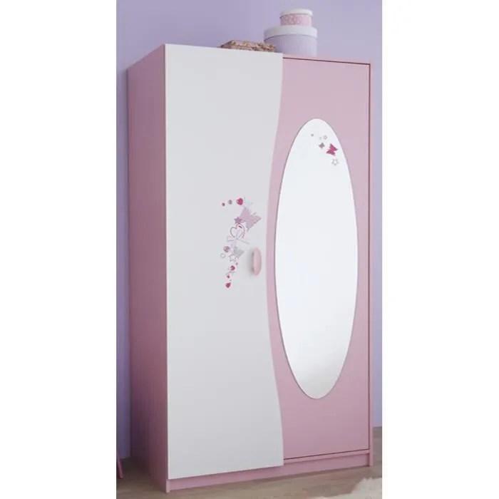 armoire enfant 2 portes miroir coloris rose