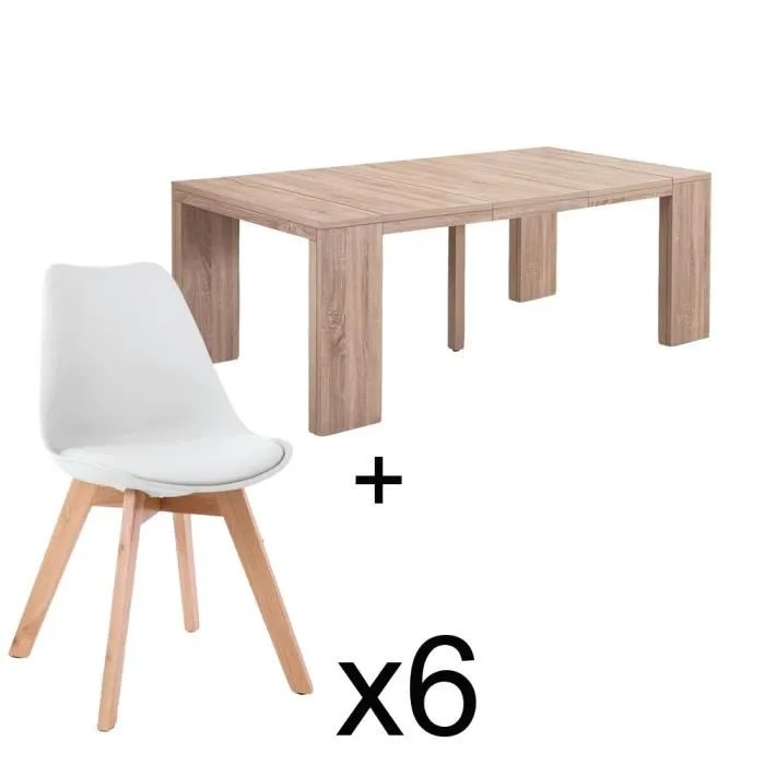 table extensible chene clair 6 chaises catherina blanc