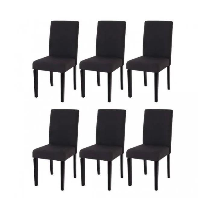 lot de 6 chaises de salle a manger en tissu noir pieds fonces cds04216