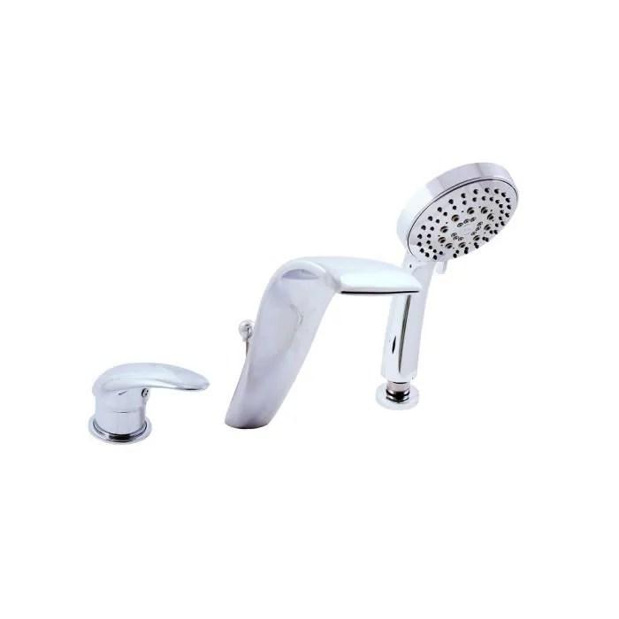 robinetterie sdb melangeur baignoire en chrome 3 trous avec cas