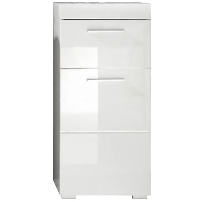 meuble bas blanc brillant pour salle de bain