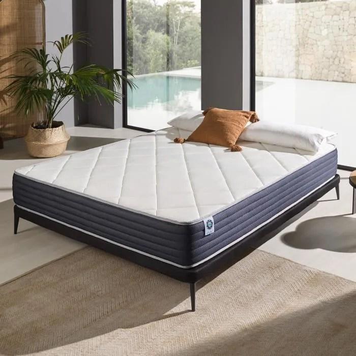 matelas royalvisco naturalex 160x200 cm a memoire mousse blue latex ergonomique 7 zones de confort ferme