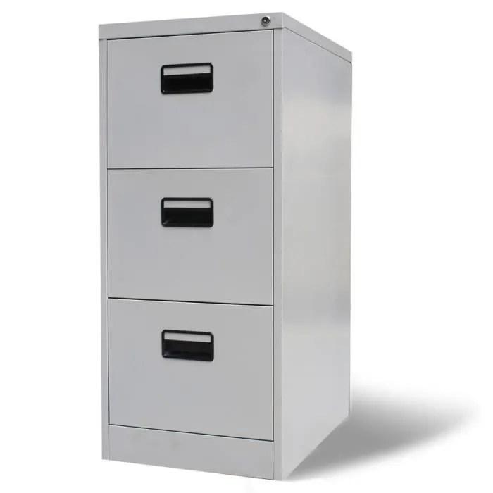 bureau metallique pour dossiers classeur en acier avec 3 tiroirs gris dimensions 45 5x62x102 5 cm