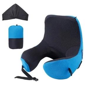 langria 6 en 1 confortable oreiller de voyage avec capuche detachable reglable mousse a memoire bleu