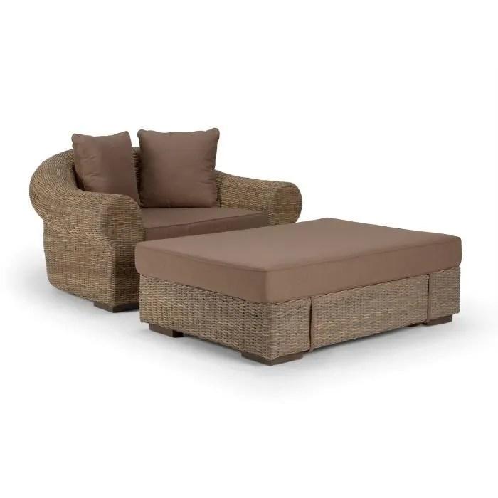 ensemble fauteuil et pouf dane en rotin koboo g