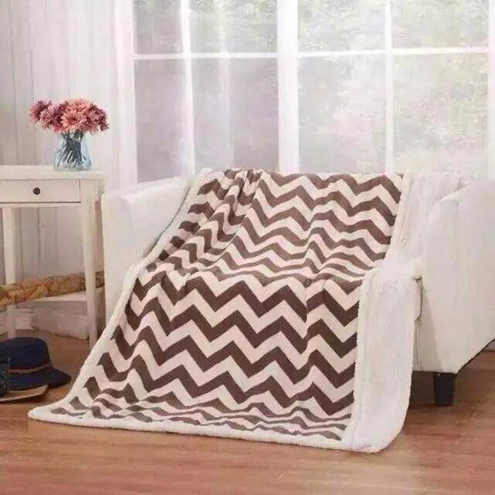 couverture polaire pour canape lit parure de draps polaire 130cm 160cm vagues
