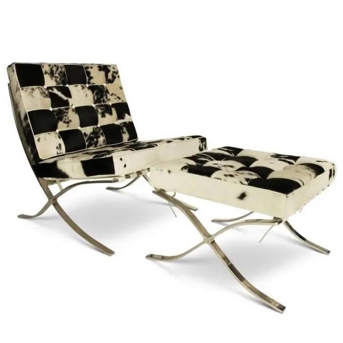 chaise barcelona avec ottoman peau de vache noir et blanc