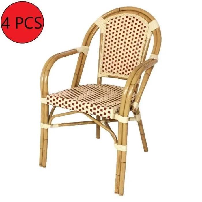 chaise chaise rotin avec accoudoir rouge beige 4 un