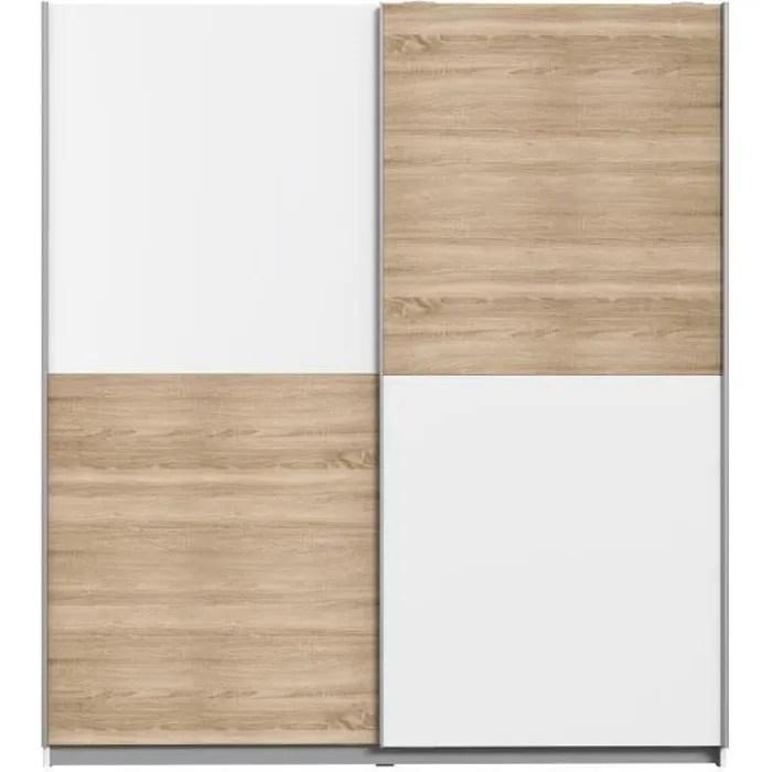 finlandek armoire de chambre ulos style contemporain decor chene et blanc l 170 3 cm