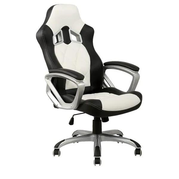 chaise de bureau blanche et noire racing