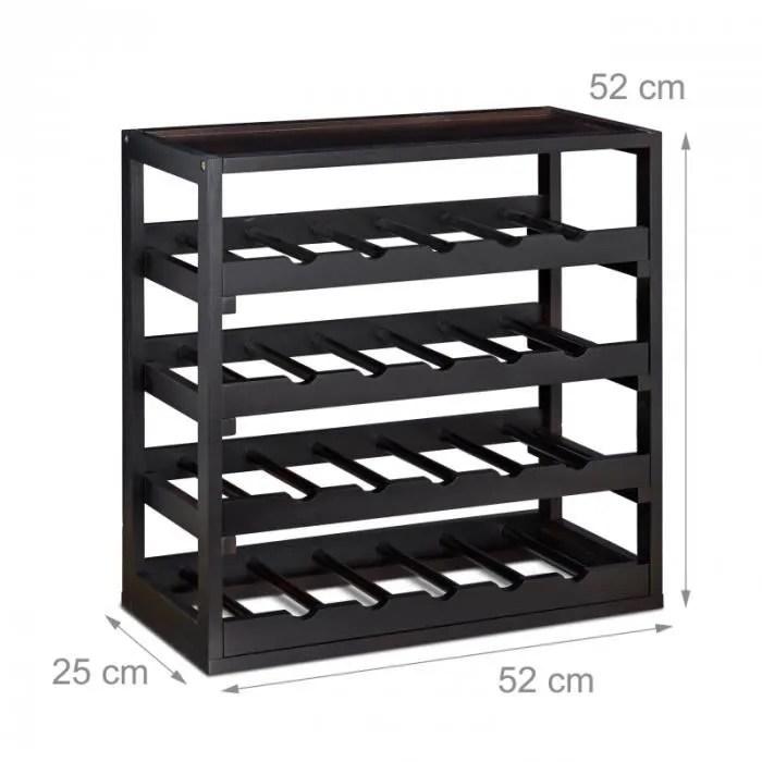 casier a bouteilles de vin en bois etagere a vin noir 52 cm 4313039