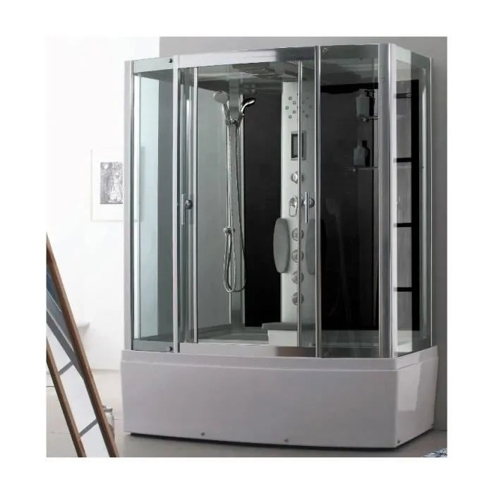 combine baignoire douche kapoho hammam et balneo 170 85 220 cm
