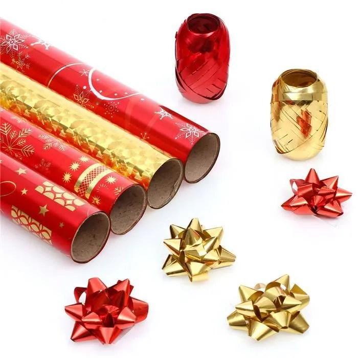 Kit De Papier Cadeau Avec Dcoration De Nol Achat