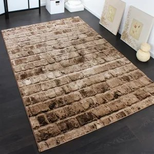 tapis tapis mur de pierre marron 240x340 cm