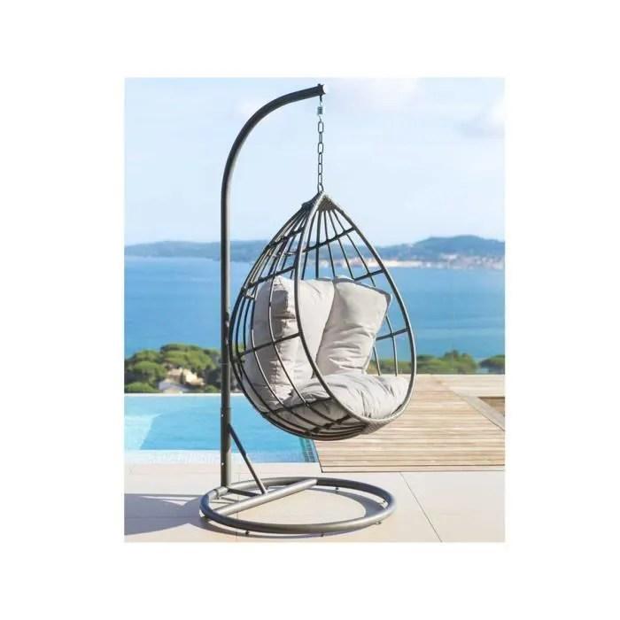 fauteuil jardin fauteuil suspendu en resine tressee merengue gris