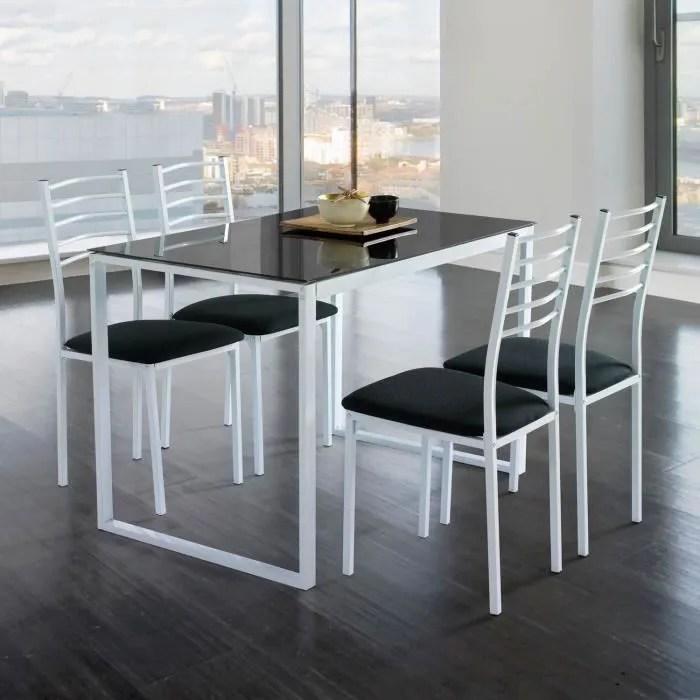 ensemble de noa table de cuisine verre 4 chaises noir