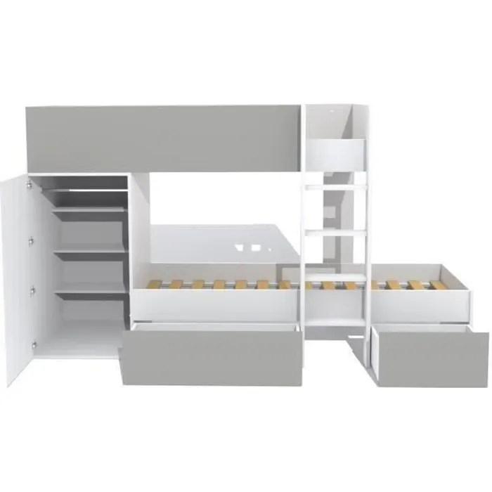 twin lit superpose enfant contemporain blanc et gris l 90 x l 190 cm