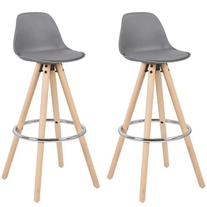 woltu 2 x tabouret de bar avec pieds en bois tabouret de cuisine avec repose pieds siege en similicuir gris