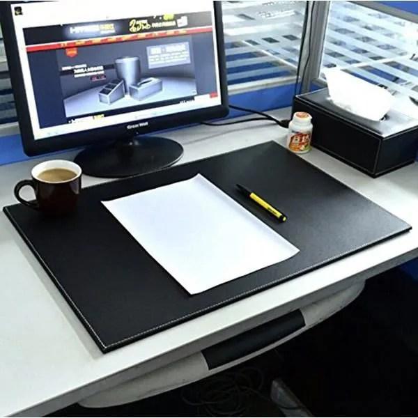 uzou tapis de bureau en cuir pu mate bloc notes 61 x 40 6 cm bureau protection d ecran souris pad pour ordinateurs portable noir