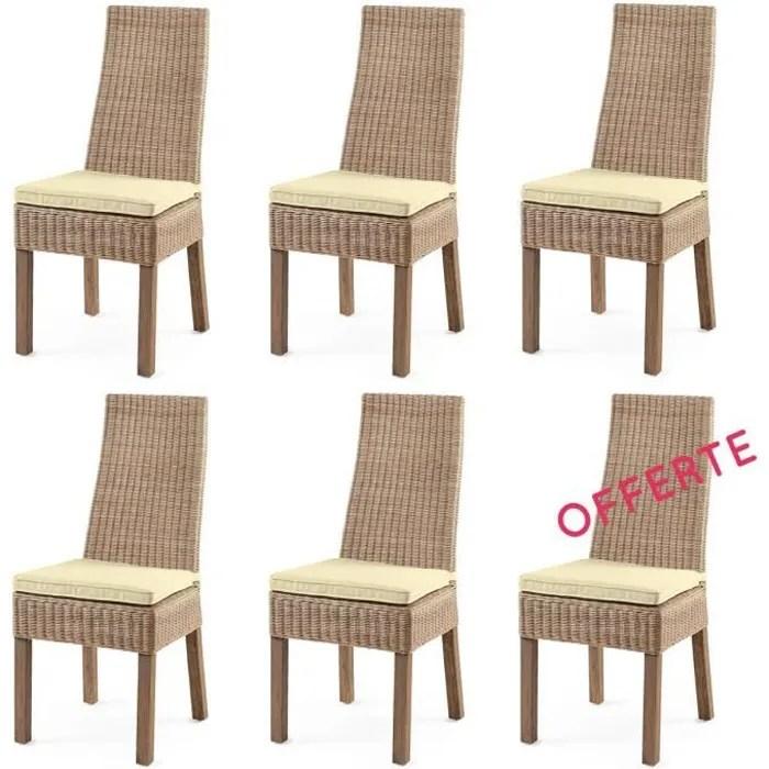 chaise lot 6 chaises calvi rotin