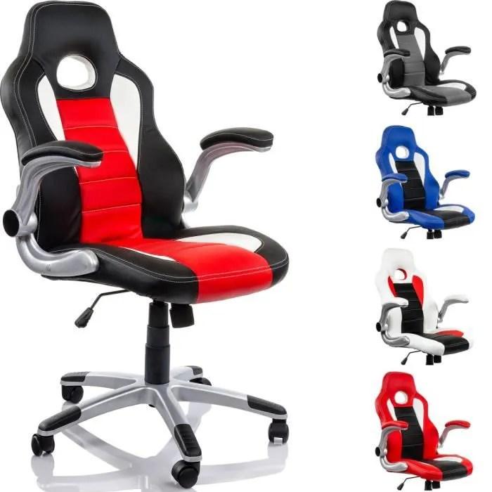 fauteuil de bureau racing noir rouge blanc