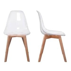 chaise stokholm transparente pieds bois lot de 2
