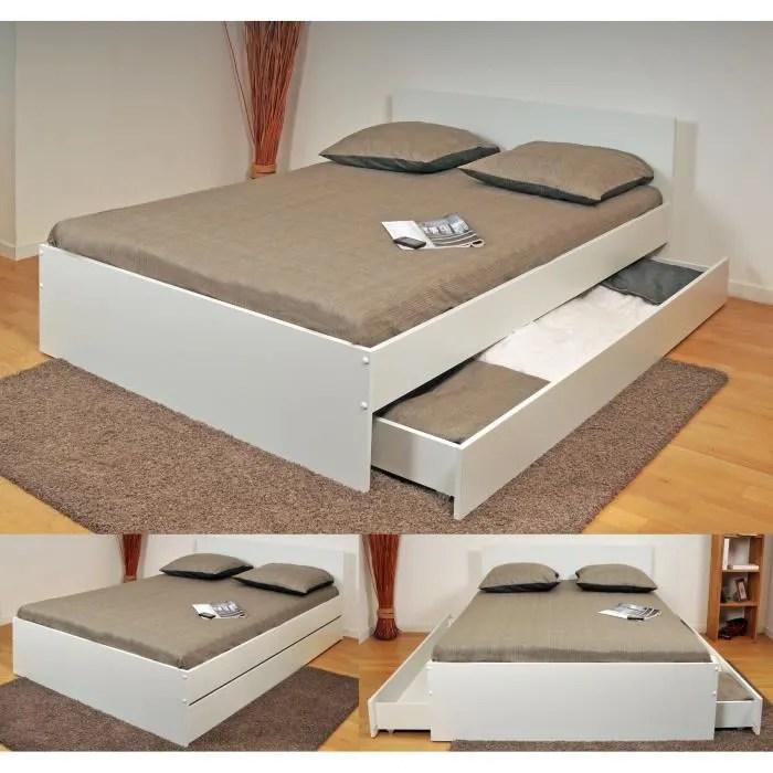 oslo lit double adulte contemporain blanc l 144 x l 193 cm
