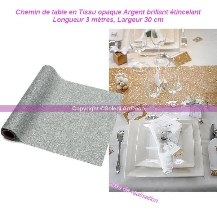 chemin de table chemin de table en tissu opaque argent brillant et