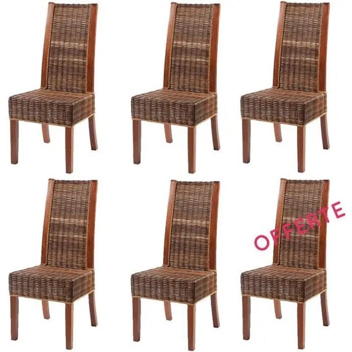chaise lot 6 chaises zonza rotin