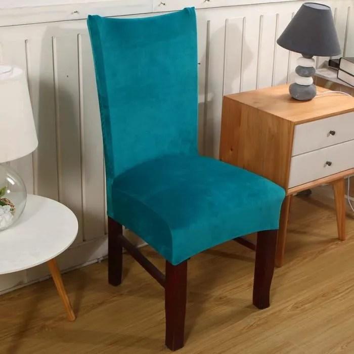 housse de chaise elastique pour salle de manger banquet de mariage couverture de chaise decor maison couleur pure bleu canard