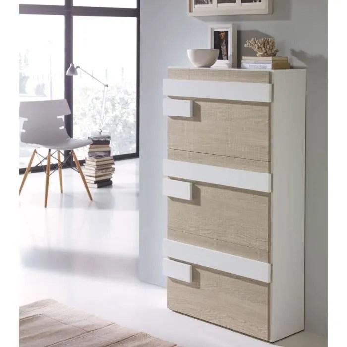 meuble a chaussures blanc chene clair jalia taille l 65 x l 29 x h 117 couleur marketing bois clair