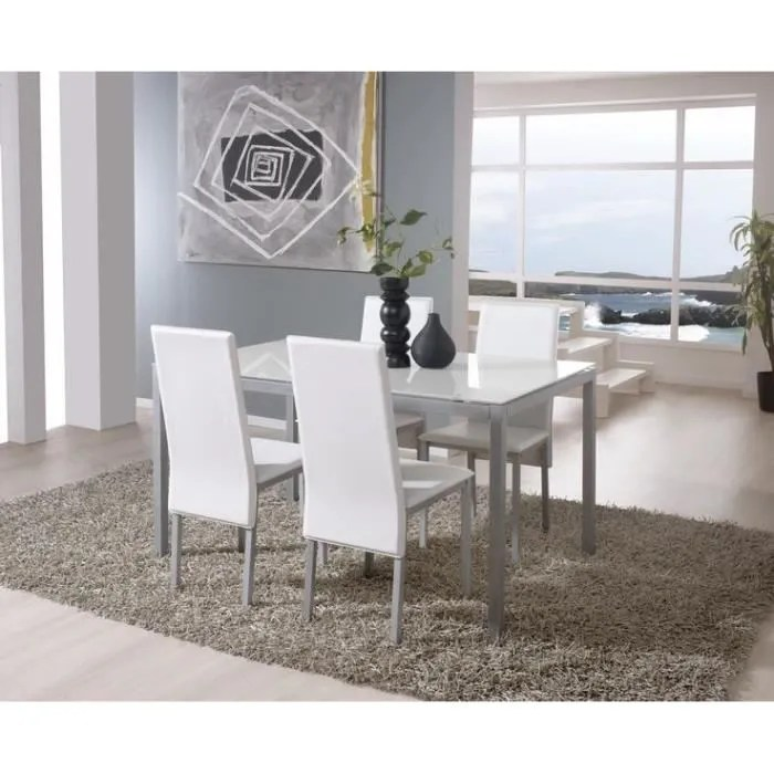 sollana ensemble table a manger 6 personnes 140x90 cm 4 chaises blanc