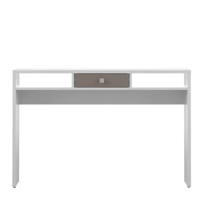 LINE Console Style Contemporain Mlamine Blanc Et Taupe