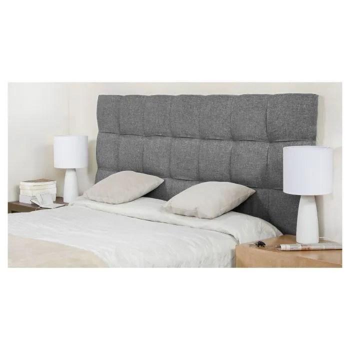 finlandek tete de lit armance classique tissu gris clair l 160 cm