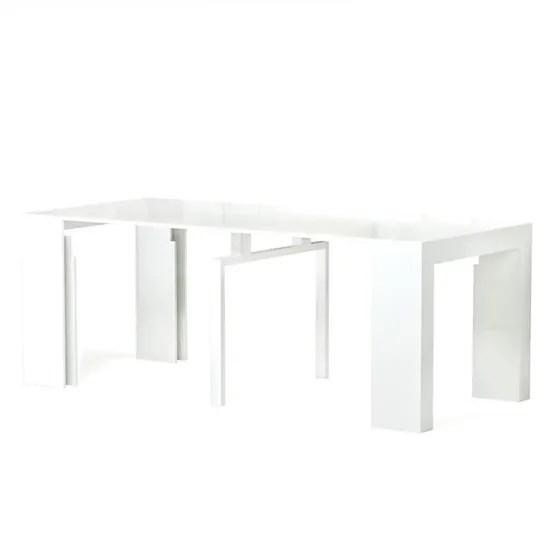 zack table console extensible 10 personnes style contemporain 45 250x90 cm laque blanc achat vente console extensible zack console ext 250cm blanc
