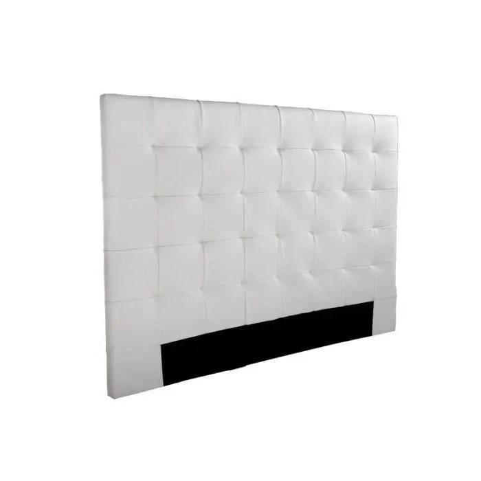 sogno tete de lit capitonnee simili blanc l 140 cm