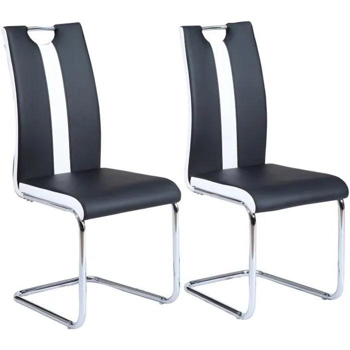 jade lot de 2 chaises de salle a manger simili noir et blanc style contemporain l 43 x p 58 cm