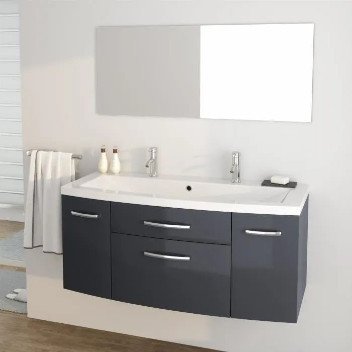 pacome ensemble meubles de salle de bain simple vasque miroir l 120 cm gris laque brillant