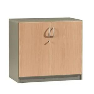 armoire de bureau armoire basse l80xh72cm 2 portes winch hetre alu