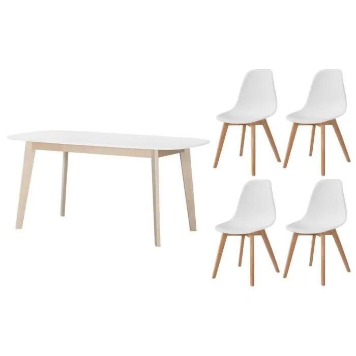 ensemble table a manger extensible naiss de 6 a 8 personnes scandinave pieds bouleau massif blanc lot de 4 chaises sacha blanc