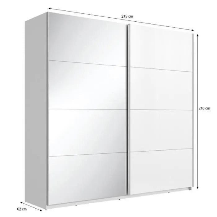 maxi armoire de chambre style contemporain blanc et miroir l 215 cm