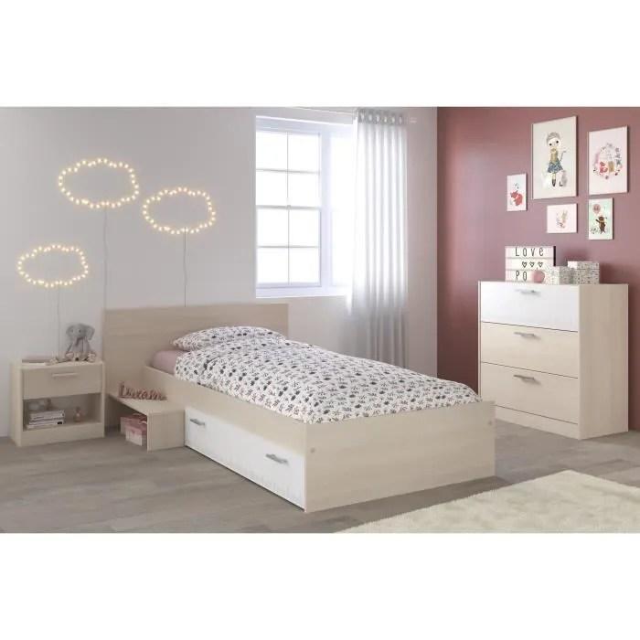 marco chambre enfant complete style contemporain decor acacia clair et blanc l 90 x l 190 cm