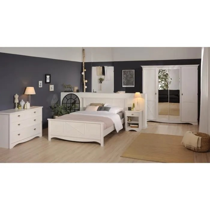 marine chambre complete adulte lit 140x190 armoire commode chevets
