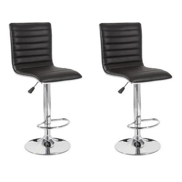 slim lot de 2 tabourets de bar simili noir contemporain l 40 5 x p 48 cm