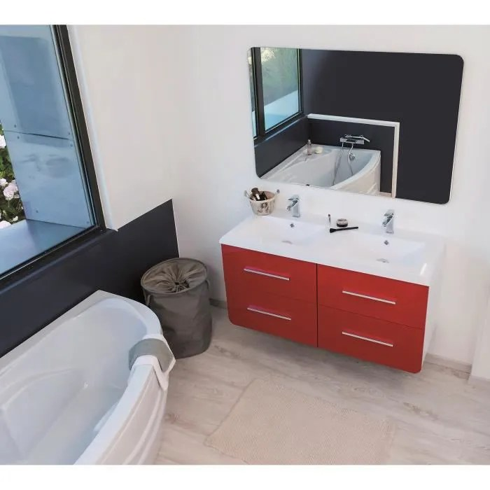 gino salle de bain complete double vasque l 121 cm rouge et blanc laque brillant