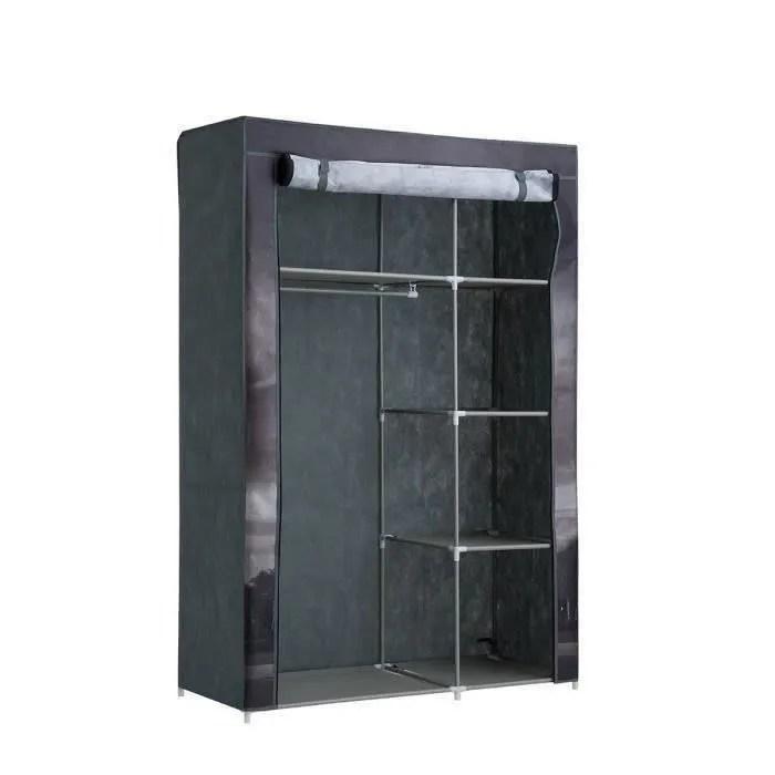 armoire penderie souple nomade 50 paris en tissu gris 105x45x158 cm
