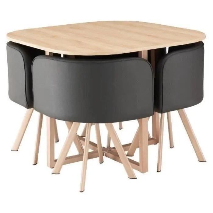 lund ensemble table a manger 4 personnes style industriel decor chene 4 chaises simili noir l 100 x l 100 cm